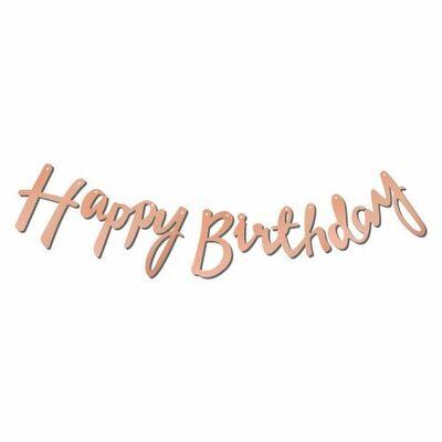 Happy Birthday Rose Gold Metalik Harf Afiş