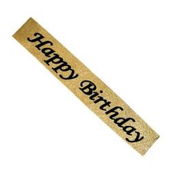 Parti Dünyası - Happy Birthday Siimli Altın Renk Kuşak