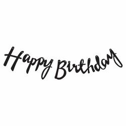 Parti - Happy Birthday Siyah Metalik Harf Afiş