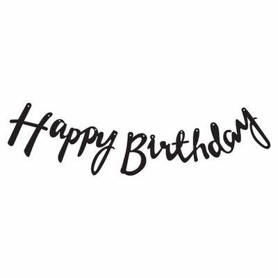 Happy Birthday Siyah Metalik Harf Afiş