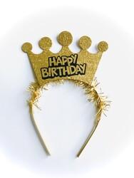 Parti Dünyası - Happy Birthday Taç Altın Renk