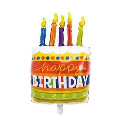 Parti Dünyası - Happy Bİrthday Mumlu Pasta Folyo Balon 85 cm