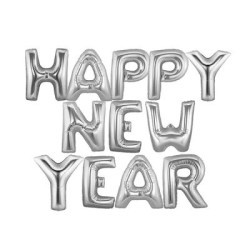 - Happy New Year Gümüş Renk Harf Folyo Balon
