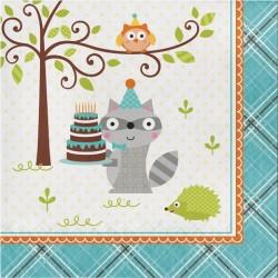 Parti Dünyası - Happy Woodland Mavi Peçete 16 Adet