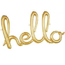 Parti Dünyası - Hello Gold Renk Folyo Balon 55 x 100 cm