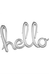 Parti Dünyası - Hello Gümüş Renk Folyo Balon 55 x 100 cm