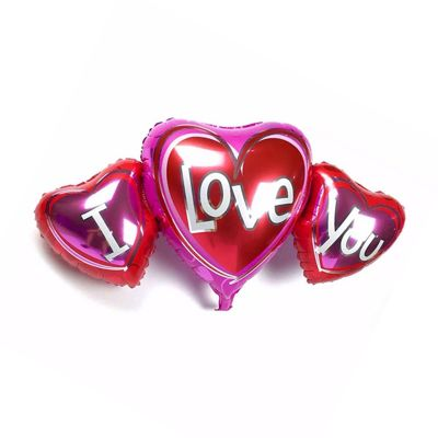 - I Love You 3 lü Kalp Folyo Balon