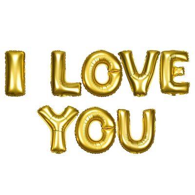 I Love You Altın Renkli Harf Folyo Balon