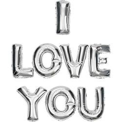 Parti - I Love You Gümüş Renkli Harf Folyo Balon