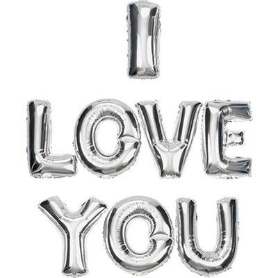 I Love You Gümüş Renkli Harf Folyo Balon