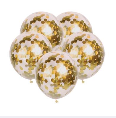 İçi Gold Renk Konfetili Şeffaf Süper Lüks Balon 10 Adet 30 CM