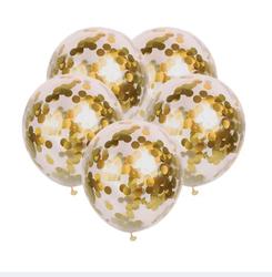 Parti Dünyası - İçi Gold Renk Konfetili Şeffaf Süper Lüks Balon 10 Adet 30 CM