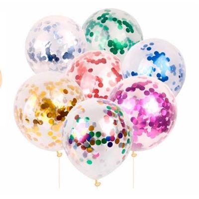 İçi Renkli Konfetili Şeffaf Balon 5 Adet 30 CM