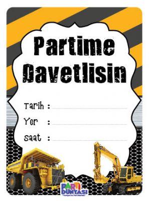 Parti Dünyası - İnşaat Partisi 6 lı Türkçe Davetiye