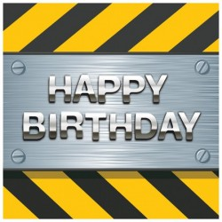 Parti Dünyası - İnşaat Partisi Happy Birthday 16 lı Peçete