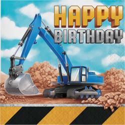 Parti Dünyası - İnşaat Partisi Happy Birthday Peçete 16 Adet