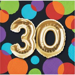 Parti Dünyası - Işıltılı Balonlar 30 YAŞ 16 lı Küçük Peçete