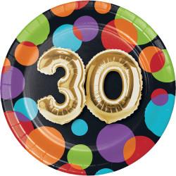 Parti Dünyası - Işıltılı Balonlar 30 YAŞ Küçük Tabak 8 Adet