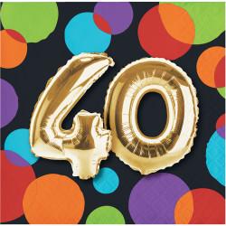 Parti Dünyası - Işıltılı Balonlar 40 YAŞ 16 lı Küçük Peçete