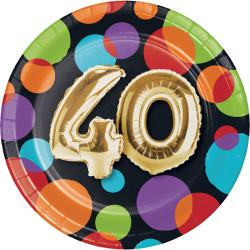 Parti Dünyası - Işıltılı Balonlar 40 YAŞ Küçük Tabak 8 Adet