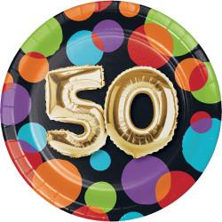 Parti Dünyası - Işıltılı Balonlar 50 YAŞ Küçük Tabak 8 Adet