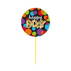 Parti Dünyası - Işıltılı Balonlar Pasta İkram Kürdanı 6 Adet