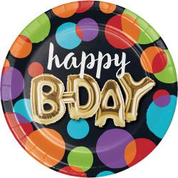 Parti Dünyası - Işıltılı Balonlar Happy Birthday 8 li Tabak