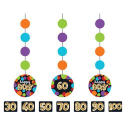 Parti Dünyası - Işıltılı Balonlar Rakam Stickerlı 3 lü Asma Süs