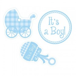 Parti Dünyası - It is a Boy Bebek Arabalı 3 lü Duvar süsü