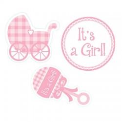 Parti Dünyası - It is a Girl Bebek Arabalı Duvar Süsü