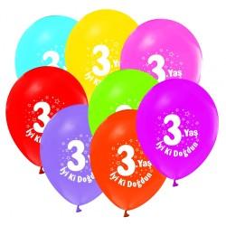 Parti Dünyası - İyi Ki Doğdun 3 Yaş Baskılı 10 Lu Latex Balon