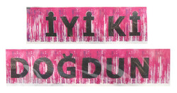 Parti - İyi Ki Doğdun Metalize Püsküllü Pembe Afiş