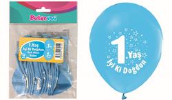 Parti Dünyası - İyi ki Doğdun 1 Yaş Baskılı Açık Mavi Balon 16 lı