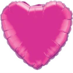 Parti Dünyası - Kalp Folyo Balon MAT Fuşya Renk 45 cm
