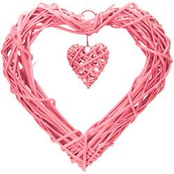 Parti Dünyası - Kalp Hasır Sarkıt Pembe Süs 35 cm