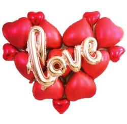 Parti Dünyası - Kırmızı Kalpler Ve Love Yazılı Folyo Balon Seti