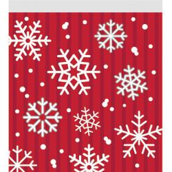 - Kar Taneleri Kırmızı Kilitlenebilen Hediye Poşeti 10 Adet