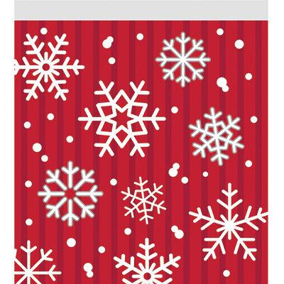 Kar Taneleri Kırmızı Kilitlenebilen Hediye Poşeti 10 Adet
