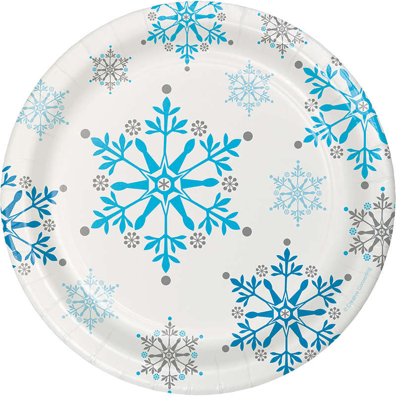 Kar Taneleri Pasta Tabağı 8 Adet