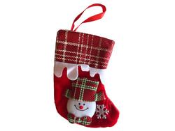 Parti Dünyası - Kardan Adam Noel Çorabı Kırmızı Kadife 12 x 16 cm
