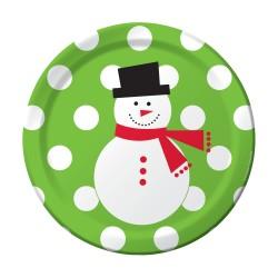 Parti Dünyası - Kardan Adam ve Puanlar Yeşil Pasta Tabağı 25 adet