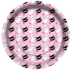 Parti Dünyası - Kedicikler Pembe Tabak 8 Adet
