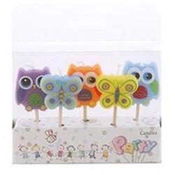 Parti Dünyası - Kelebek ve Baykuş Mum 5 li paket