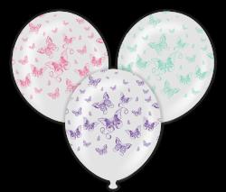 Parti - Kelebekler Çepeçevre Baskılı 100 lü Latex Balon