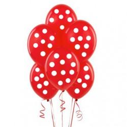 Parti Dünyası - Kırmızı-Beyaz Puanlı 10 lu Latex Balon