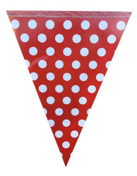 Parti - Kırmızı Beyaz Puanlı Bayrak Afiş