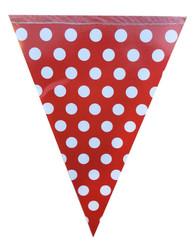 Parti Dünyası - Kırmızı Beyaz Puanlı Bayrak Afiş