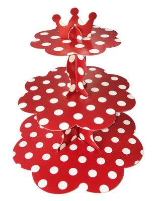 Kırmızı Beyaz Puanlı Cupcake standı