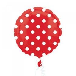 Parti Dünyası - Kırmızı Beyaz Puanlı Folyo Balon