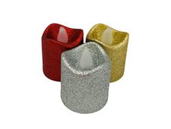 Parti Dünyası - Kırmızı, Gümüş, Gold Renk Simli Pilli Mum 3 Adet
